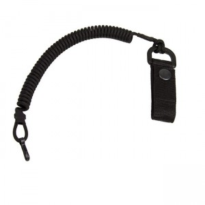 Safety cord with carabiner and belt clip, black