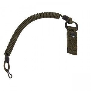 Safety cord with carabiner and belt clip, army green