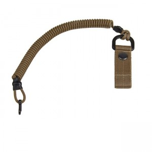 Safety cord with carabiner and belt clip, coyote brown