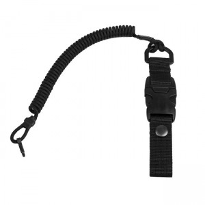 Safety cord with quick-release fastening, black